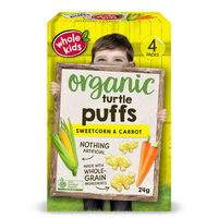 Whold Kids Organic Sweetcorn & Carrot Turtle Puffs 12+Months 24g*