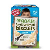 Whole Kids Organic Farm Animal Vanilla Biscuits 12+Months 150g*
