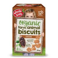 Whole Kids Organic Farm Animal Cocoa Biscuits 12+Months 150g*